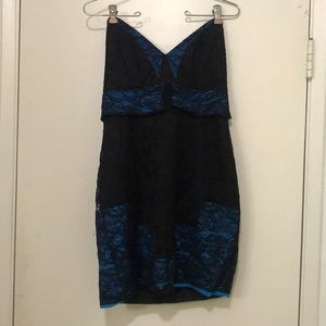 Foley + Corinna lace black and blue cocktail dress